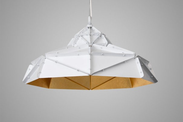 Octagon Wide Gold Faceted Light