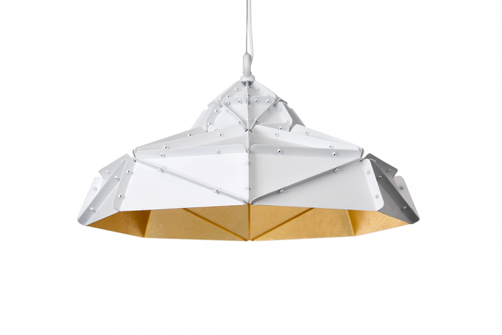 Octagon Wide Gold Faceted suspended Light, stainless steel, gold inside, white powder-coated
