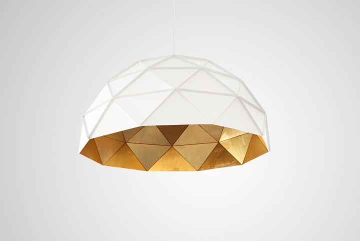 Sun Chandelier 140, Large Dome Pendant Light with golden inside triangle surface, white exterior,