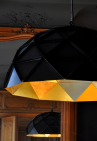 Sun Chandelier 100, outside matte black, inside golden, in bakery