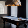 Sun Chandelier Gold 140, in hotel game room, light over billiard table,