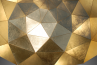 Sun Chandelier Gold plated triangle surface, golden leaf,