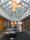 Adamlamp Coral 500 Extra Large Suspended Light white glossy BSQ Office Building lobby Budapest