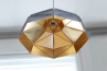 Octagon Wide Gold Faceted Suspended Light