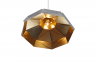 Octagon Wide Gold Faceted Suspended Light, Gold White RAL9016,