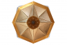 Octagon Wide Gold Faceted Suspended Light, Octagon shape, bottom view,
