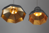 Octagon Fat Gold Faceted Suspended Lights, Gold Inside, Triangles,