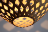 Bamboo Hexagonal Beehive Pendant Light On detail