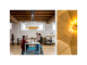 Sun Chandelier Gold 140, geometric light fixture in coworking office,