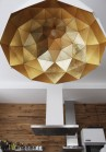 Sun Chandelier 140 large pendant light with gold inside lights off,  in studio restaurant,